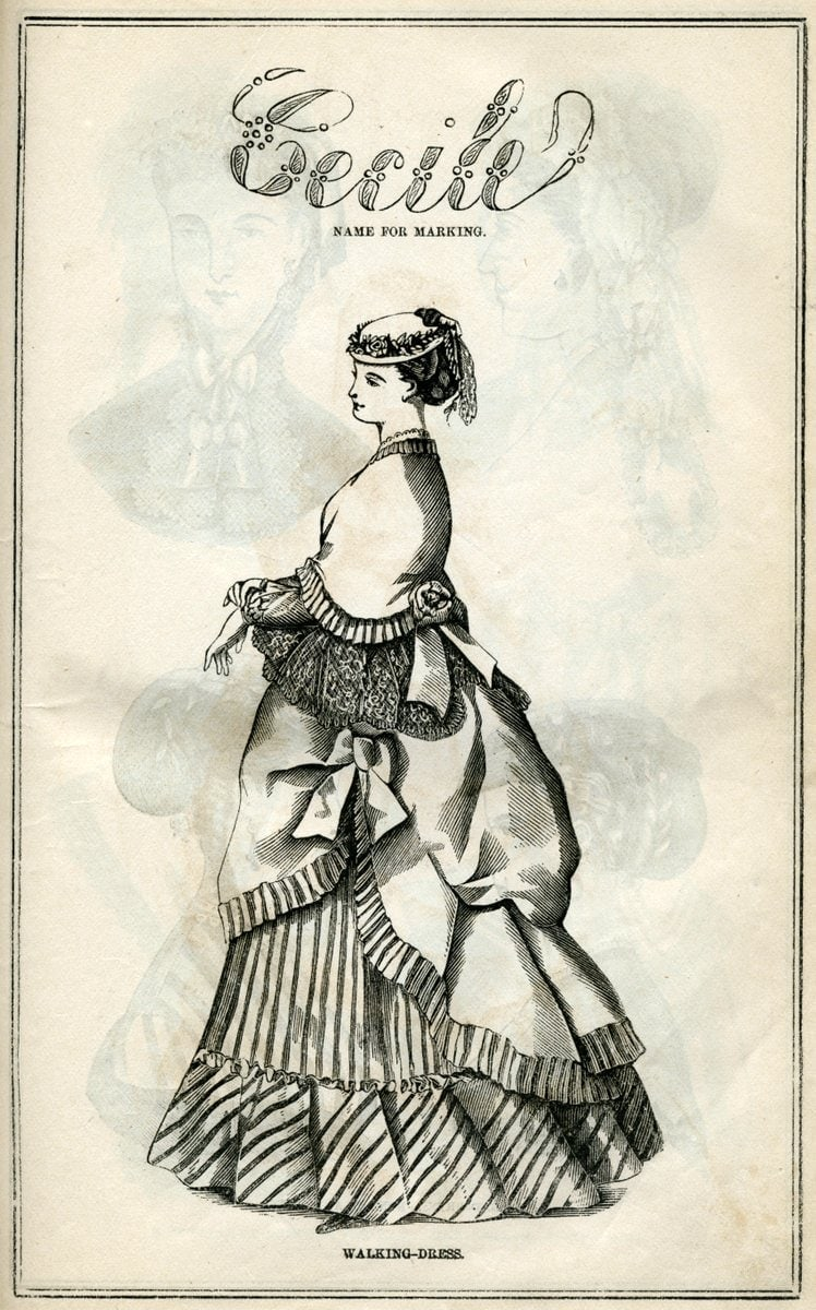 Post-Civil War dresses from 1869 - Antique fashion illustration (1)