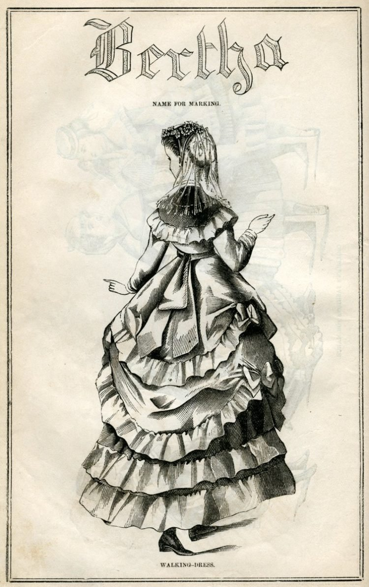 Post-Civil War dresses from 1869 - Antique fashion illustration (2)