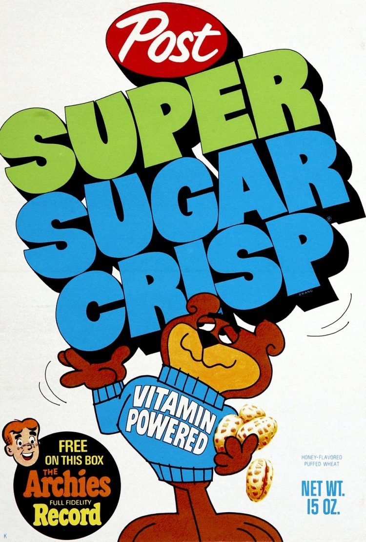 Post Super Sugar Crisp Cereal 1969