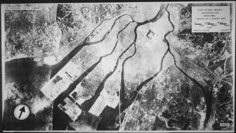 Post-attack mosaic view of Hiroshima, Japan 1945