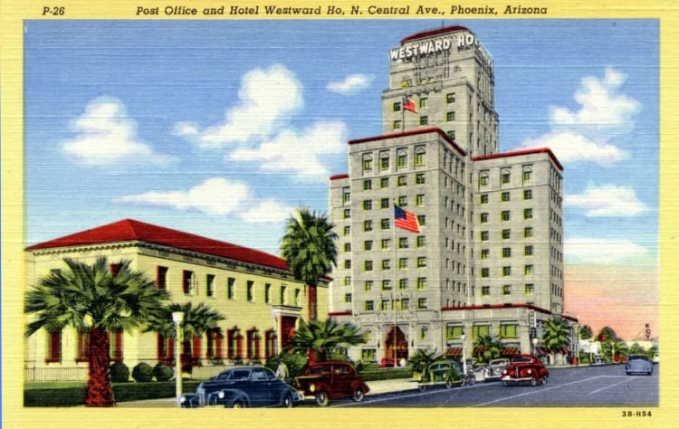 Post office and Hotel Westward Ho, N. Central Ave., Phoenix, Arizona 1940s