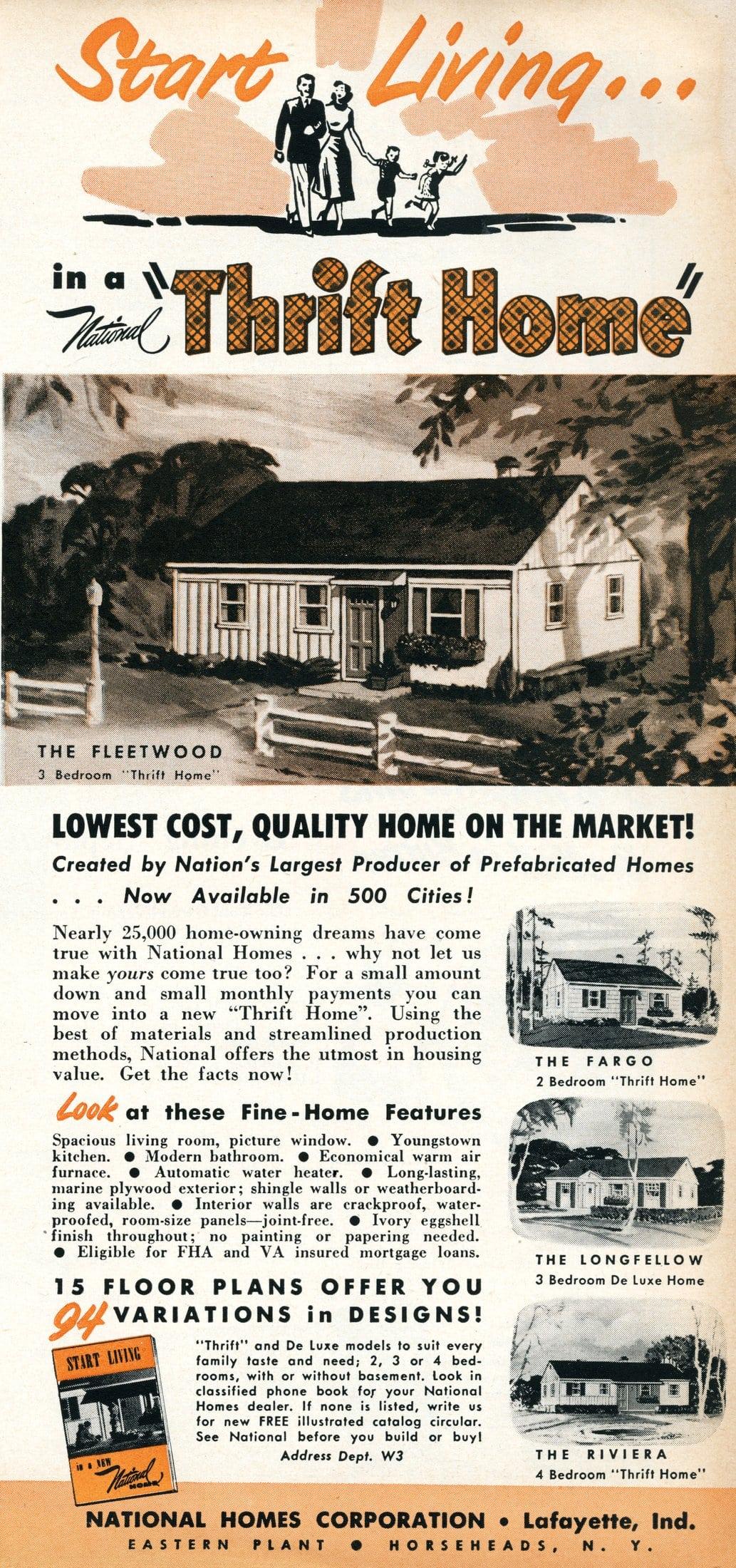 Post-war housing Start living in a thrift home (1950)