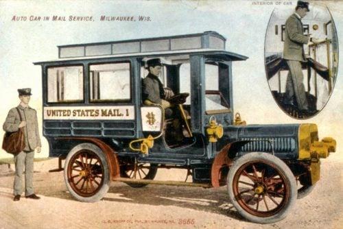 Postcard of the Milwaukee Mail Car 1907