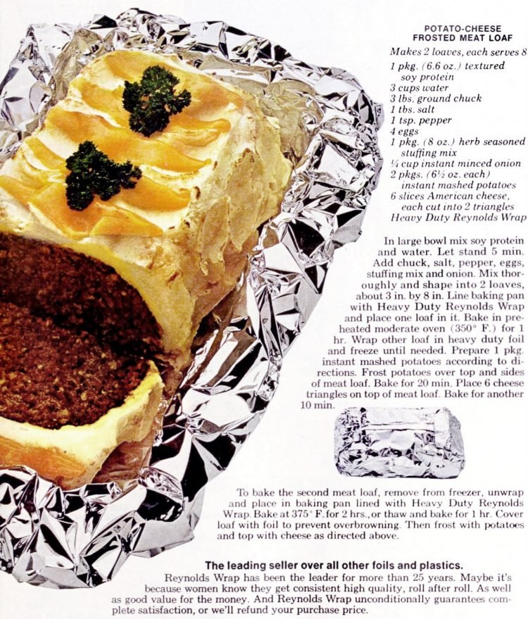 Potato-cheese frosted meatloaf - Vintage dinner recipe