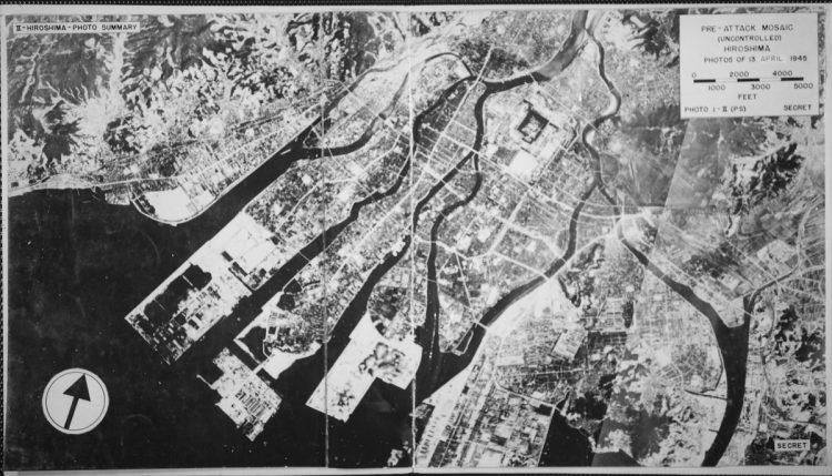 Pre-attack mosaic view of Hiroshima, Japan 1945