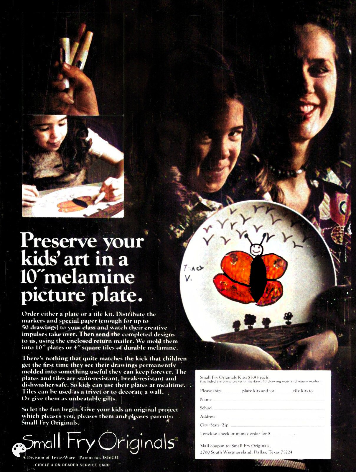Preserve your kids' art in a 10-inch melamine picture plate (1976)
