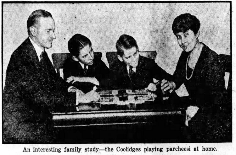 President Calvin Coolidge playing Parcheesi game with family 1923