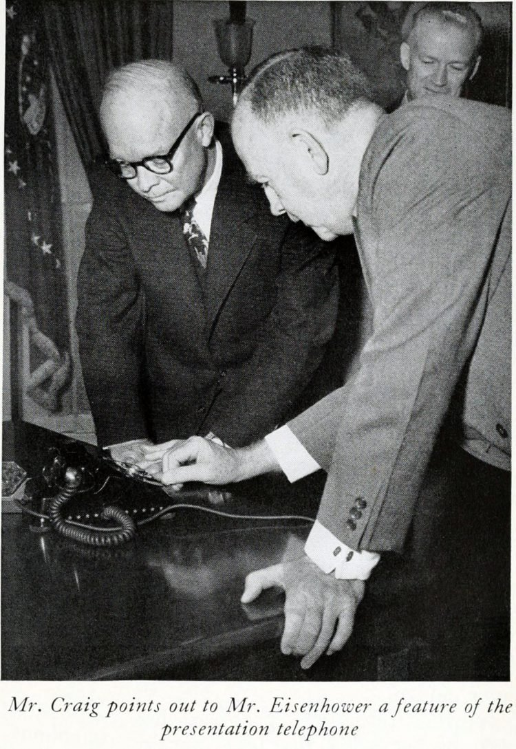 President Eisenhower with 50 millionth phone