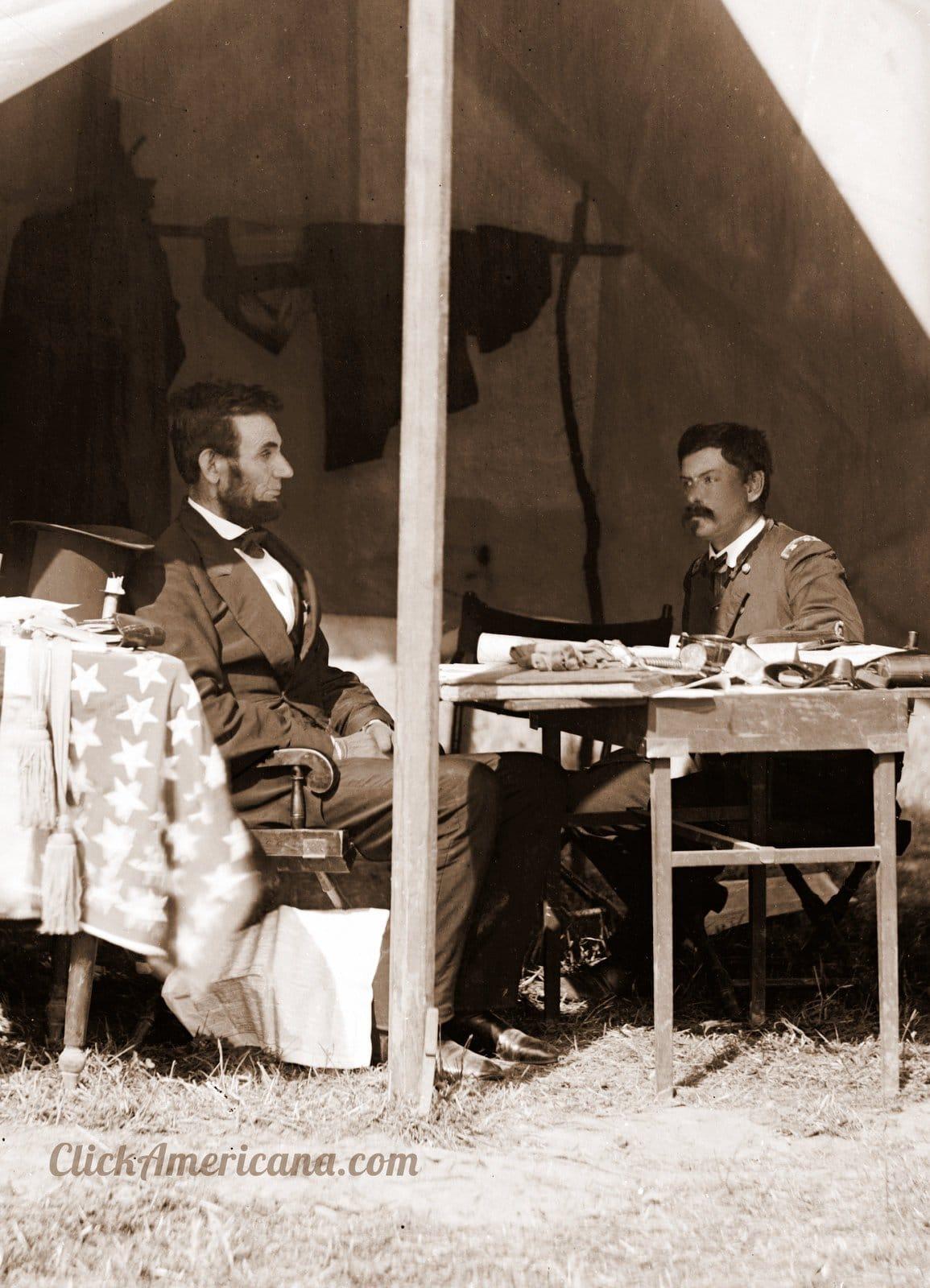 President Lincoln and General McClellan - Battle of Antietam - October 3, 1862 - Restored photo by ClickAmericana com