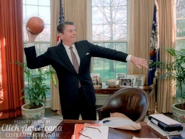 President Reagan Throwing a Football in the Oval Office 03-26-1982