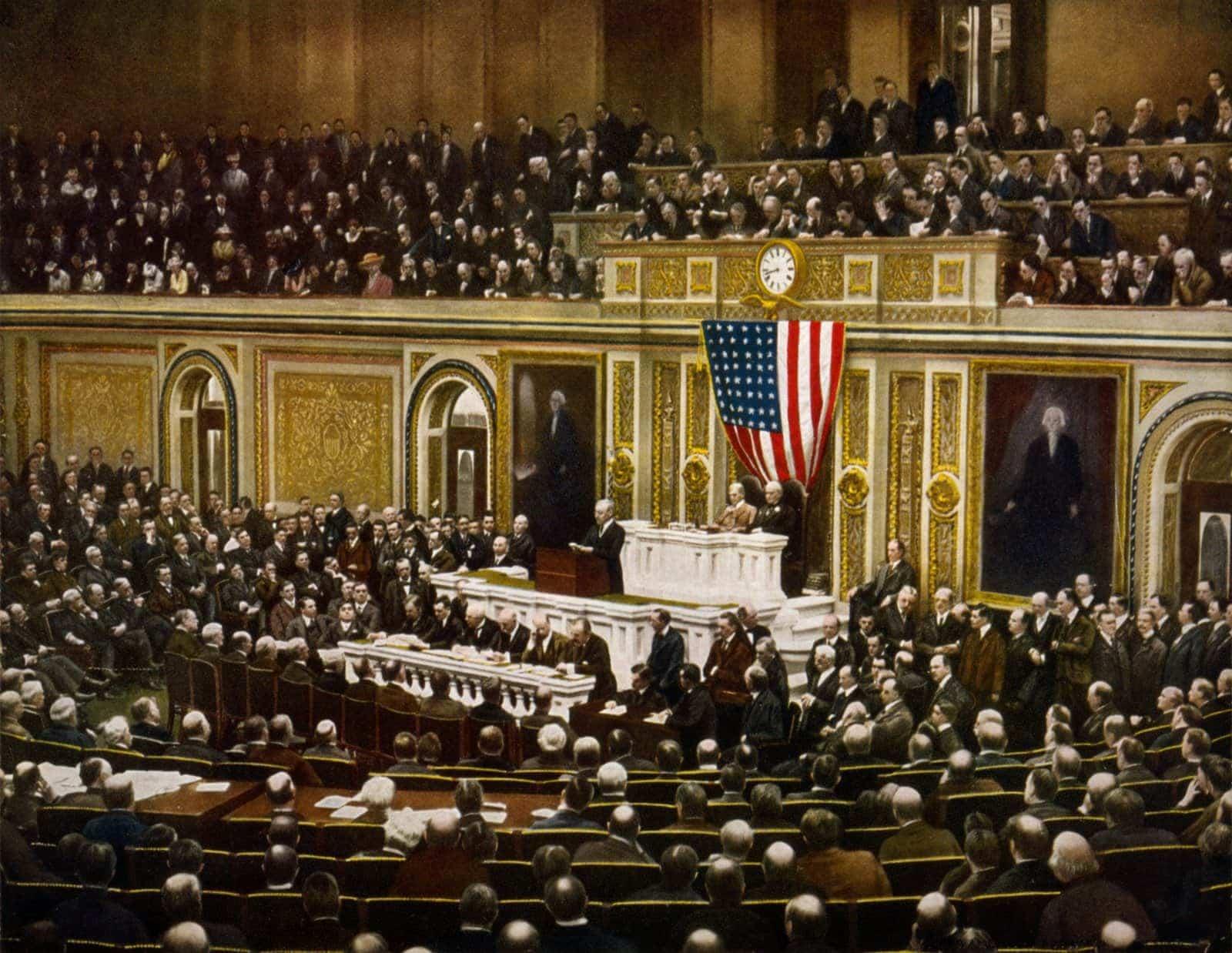 President Woodrow Wilson declaring war on Germany April 2 1917
