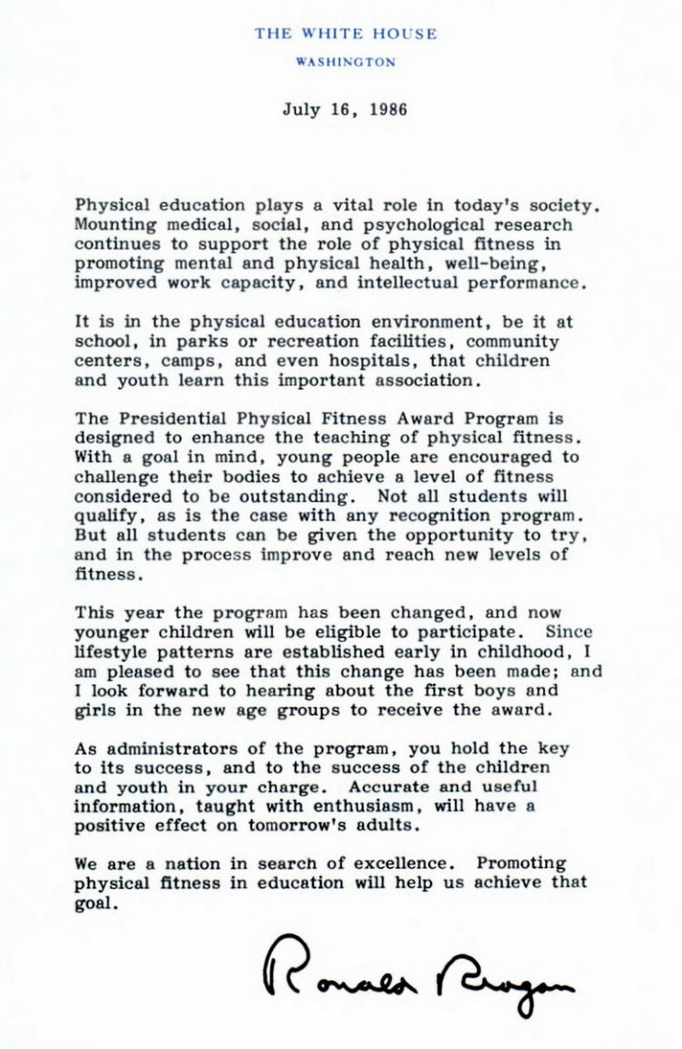 Presidential Physical Fitness Award - Intro letter from Ronald Reagan
