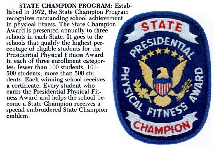 Presidential Physical Fitness Award - State Champion badge patch