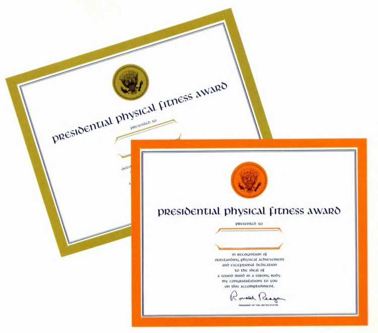Presidential Physical Fitness Awards guidelines - Reagan