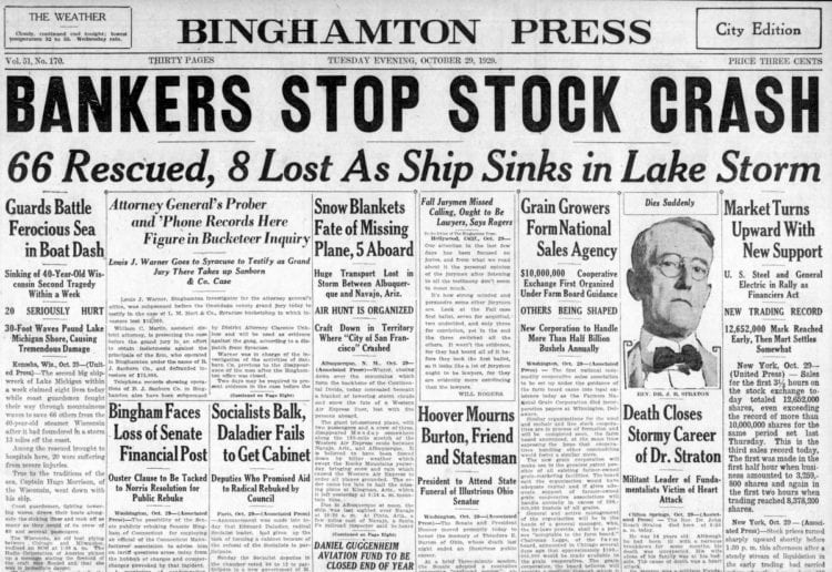 The Great Depression Newspaper headlines from 1929 - Bankers Stop Stock Crash