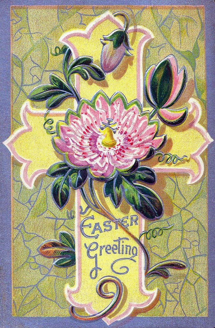 Pretty antique Easter postcard with cross and spring flowers