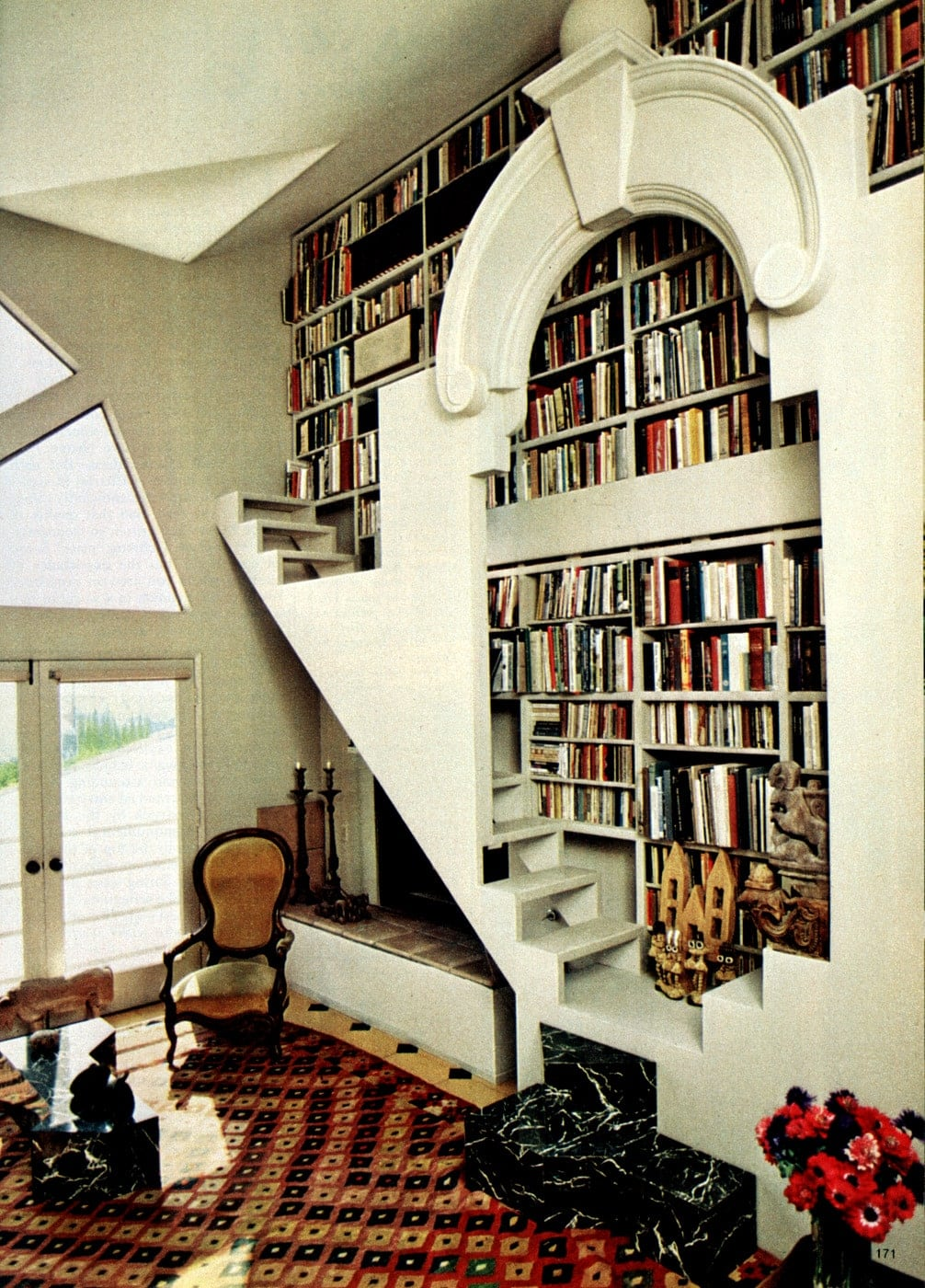 Pretty home bookshelves and staircase from 1981