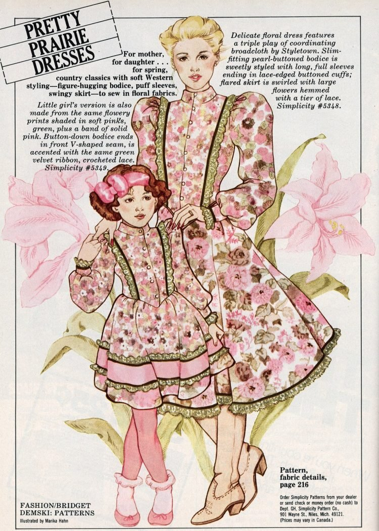Pretty prairie dresses from February 1982