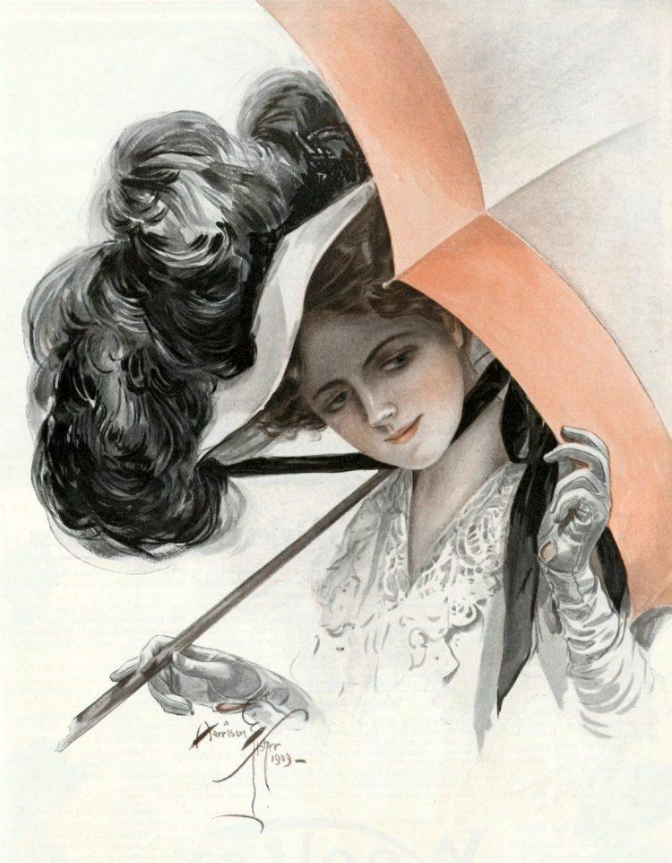 Pretty women with parasol -1909