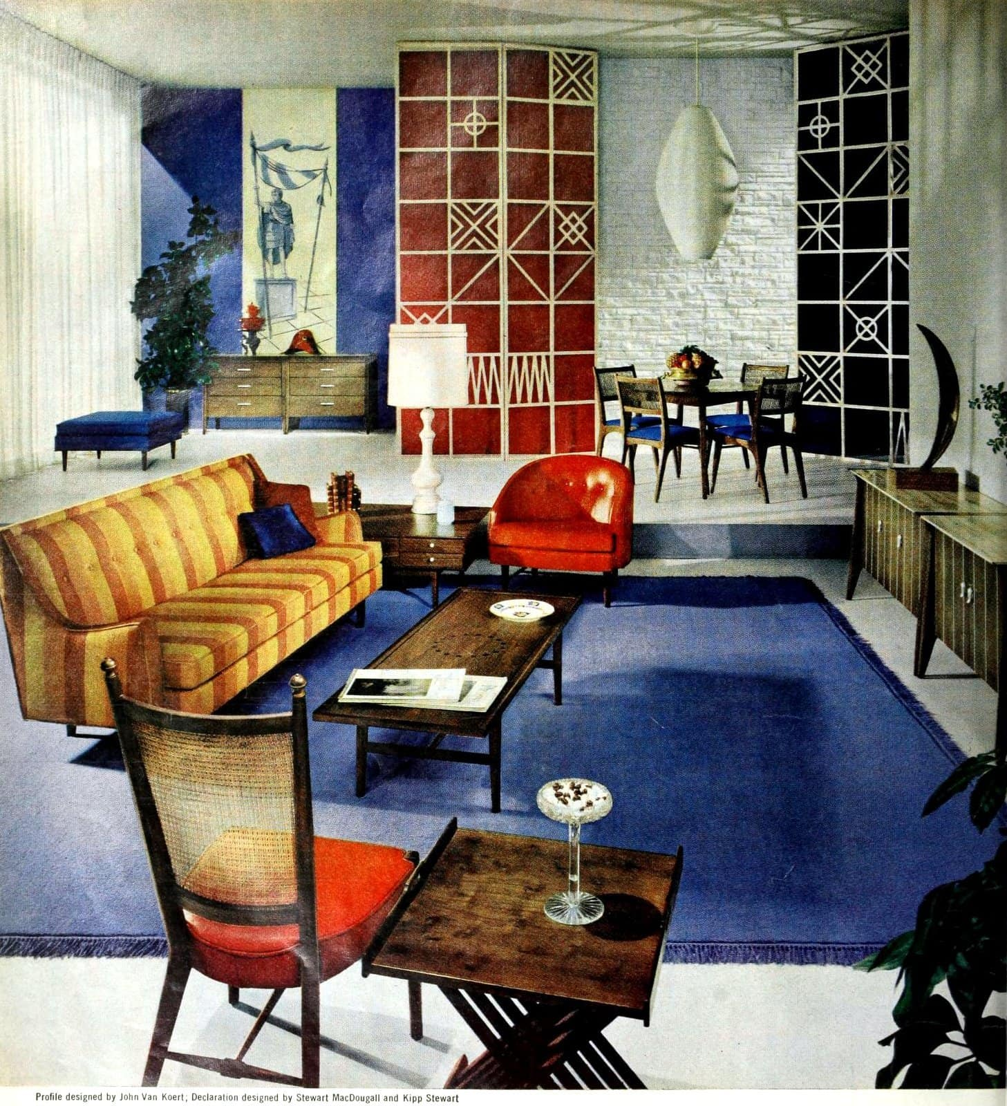 Primary color home decor with midcentury modern flair