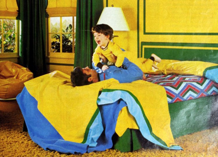 Primary color sheets and bedding for a 1970s boy's room