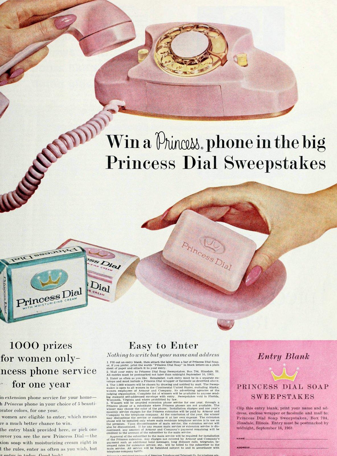 Princess Dial soap and Princess telephones (1963)