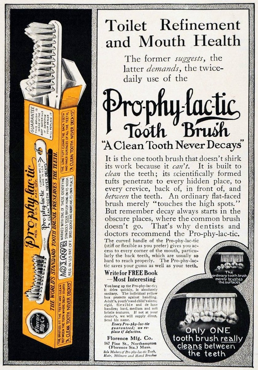 Pro-phy-lac-tic brand tooth brush (1913)