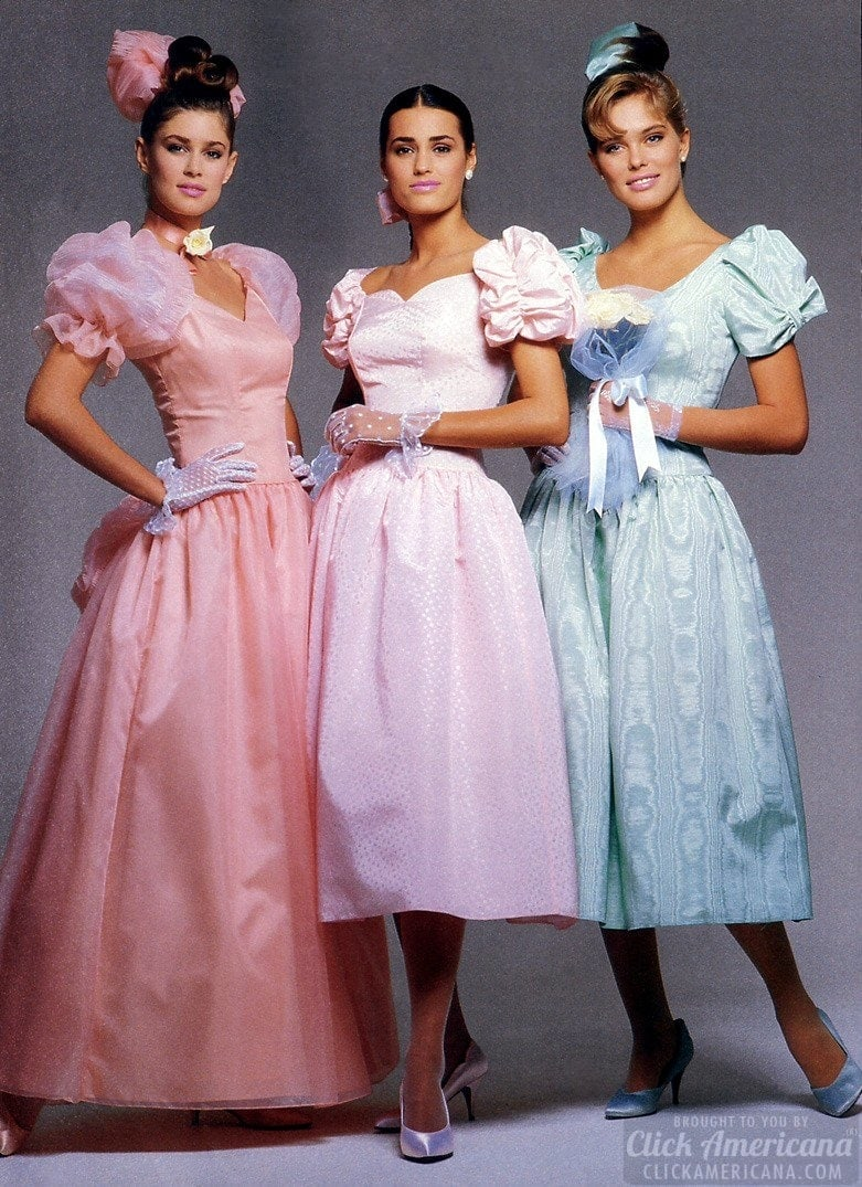 Top models showing prom dresses and lacy mesh gloves back in 1987