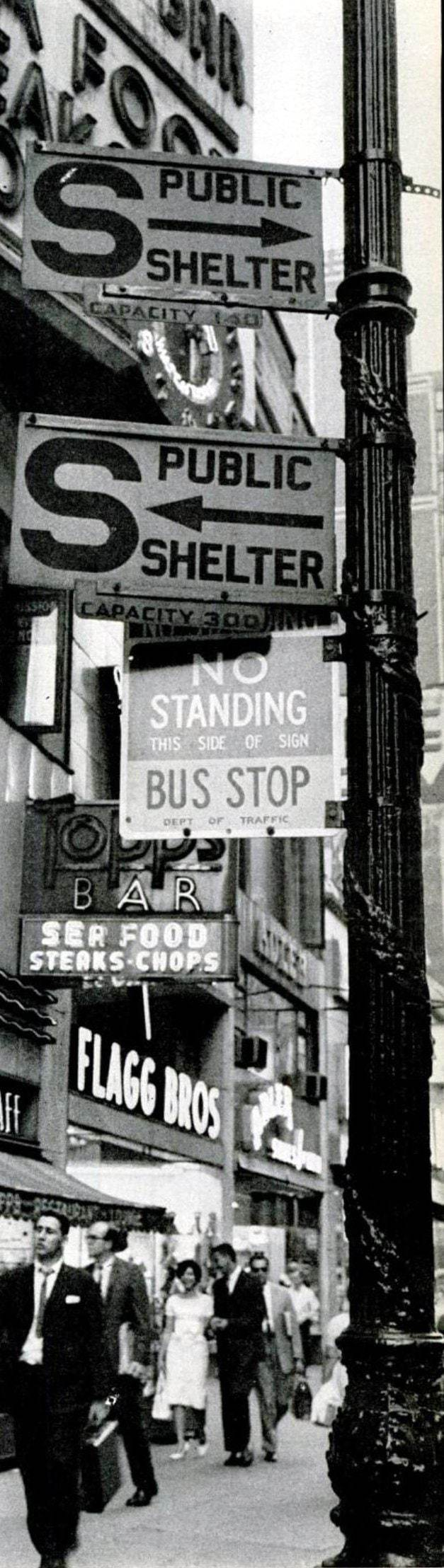Public fallout shelter signs - NYC 1961