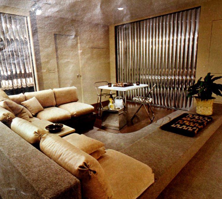 Puffy retro sofa configuration in dual-level living room