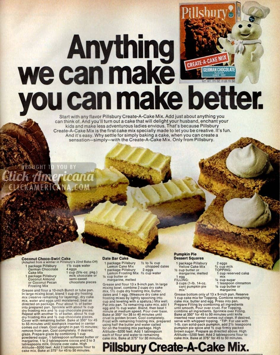 Pumpkin Bars, Coconut Choco-Swirl & Date Bar Cake (1971)