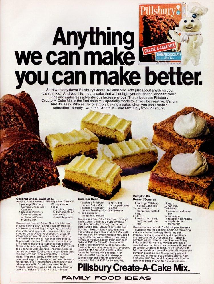 Pumpkin bars, Coconut choco-swirl cake & Date bar cake (1971)
