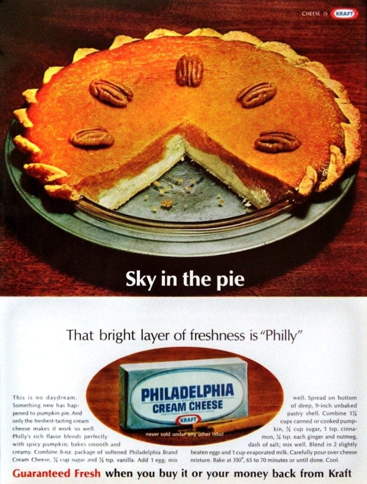 Pumpkin cream cheese pie for Thanksgiving - from 1967