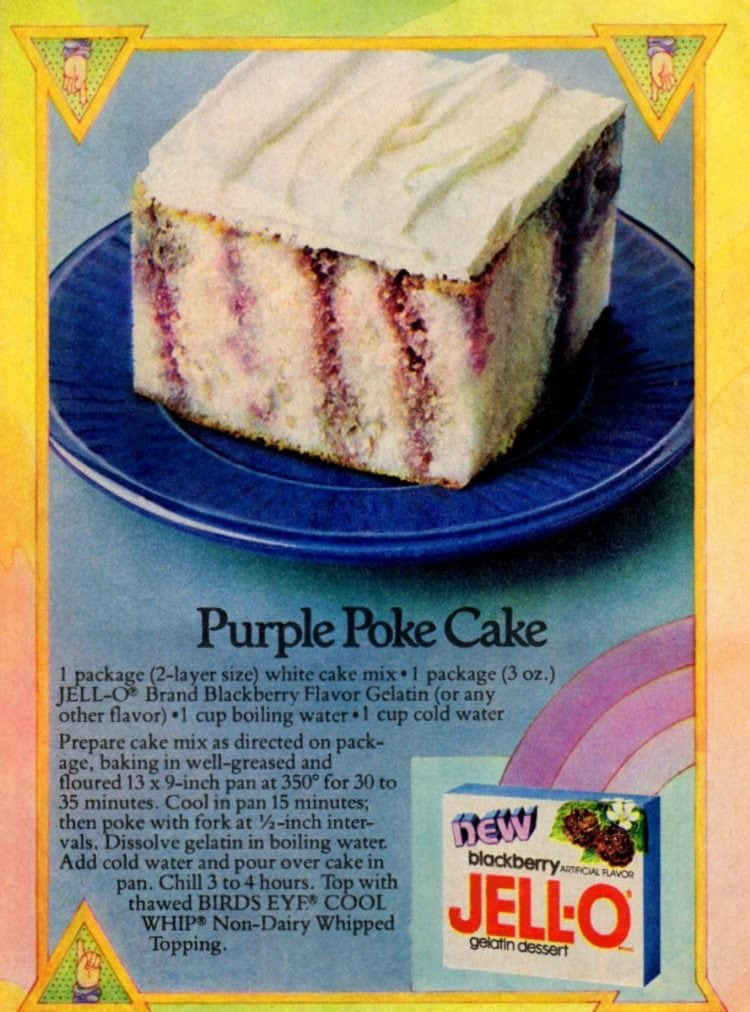 Purple Jell-O poke cake recipe (1978)