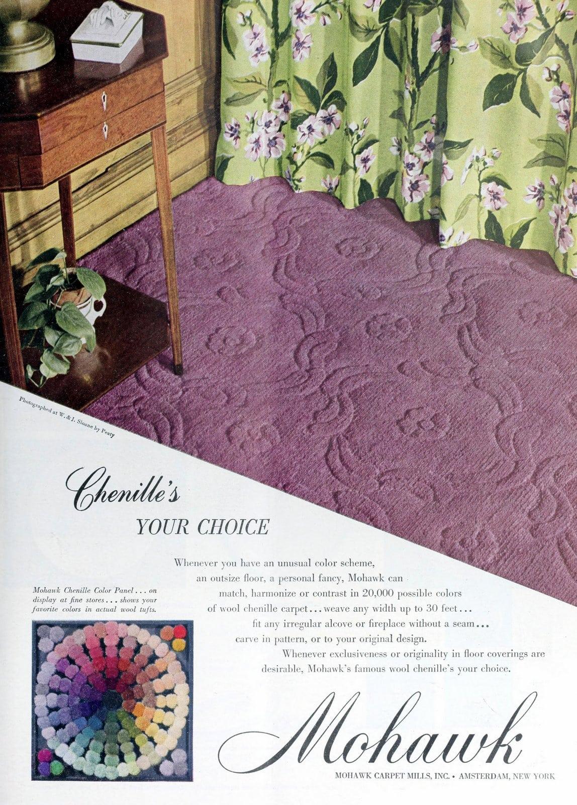 Purple Mohawk brand sculpted vintage carpet (1949)