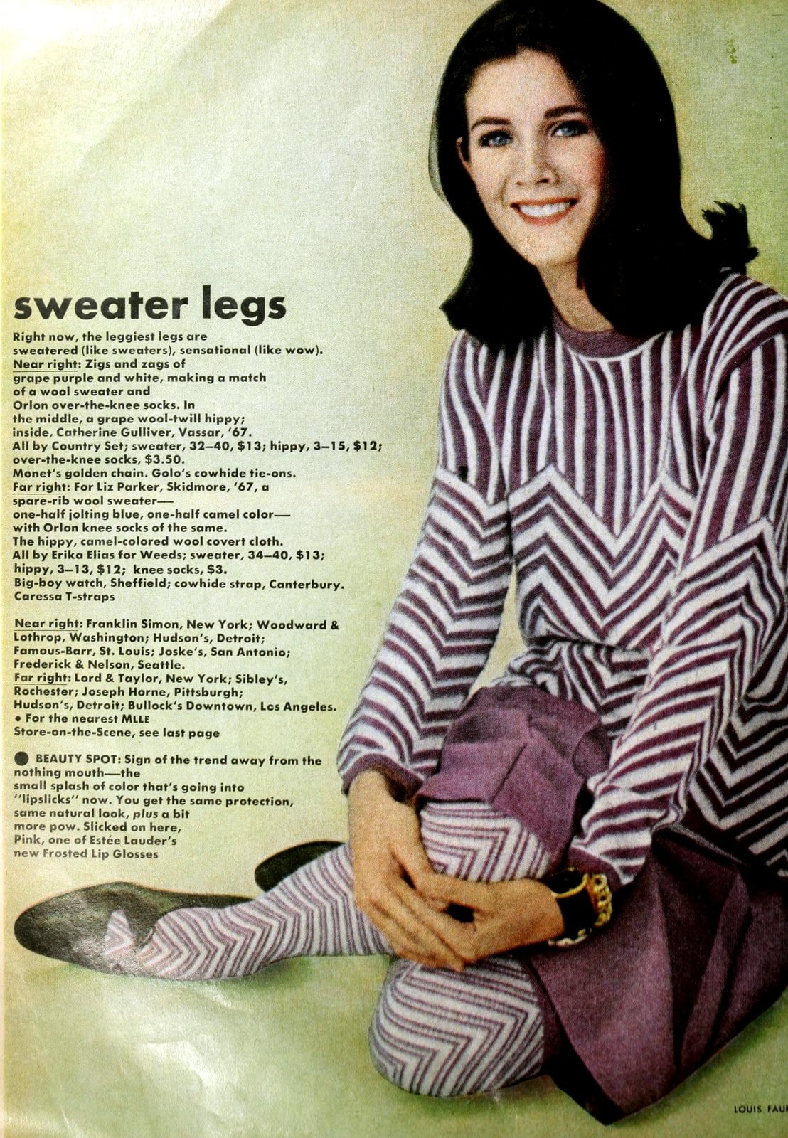 Purple and white sweater with coordinating skirt and leggings (1965)