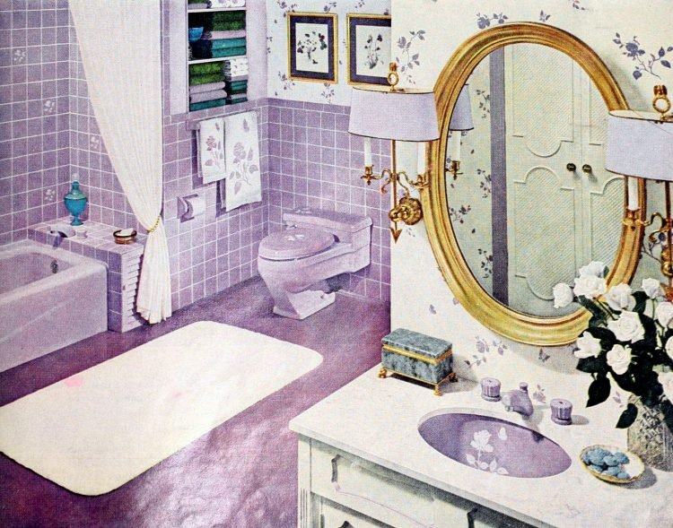 Purple retro 60s bathroom with decoated sinks and tile