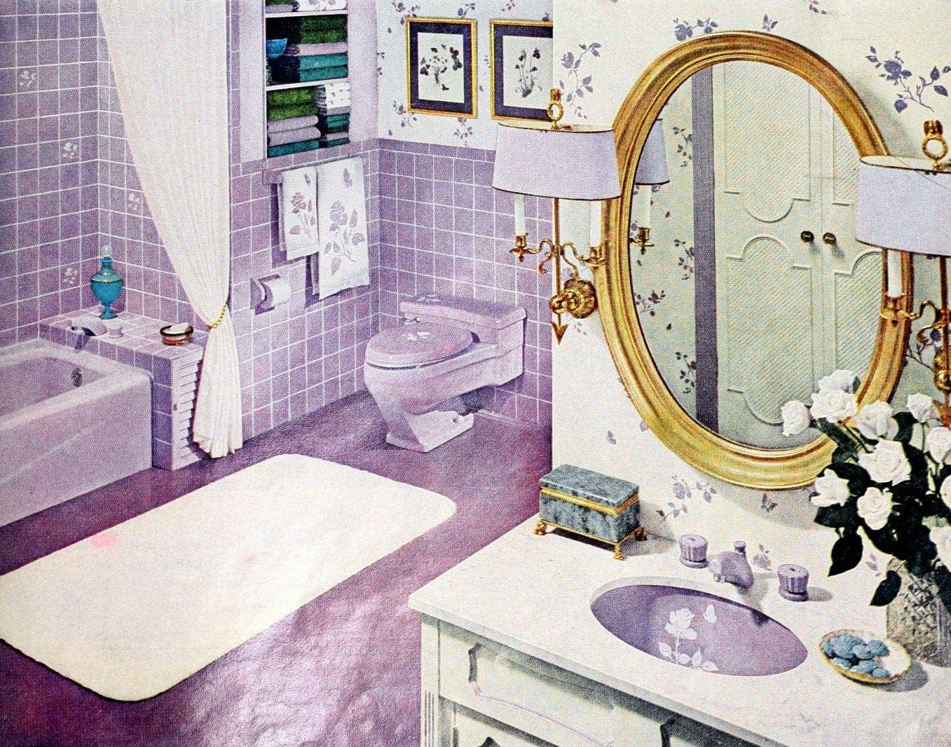 Purple retro 60s bathroom with decorated sinks and tile