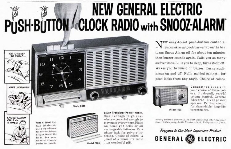 Push-button clock radio with alarm from 1959