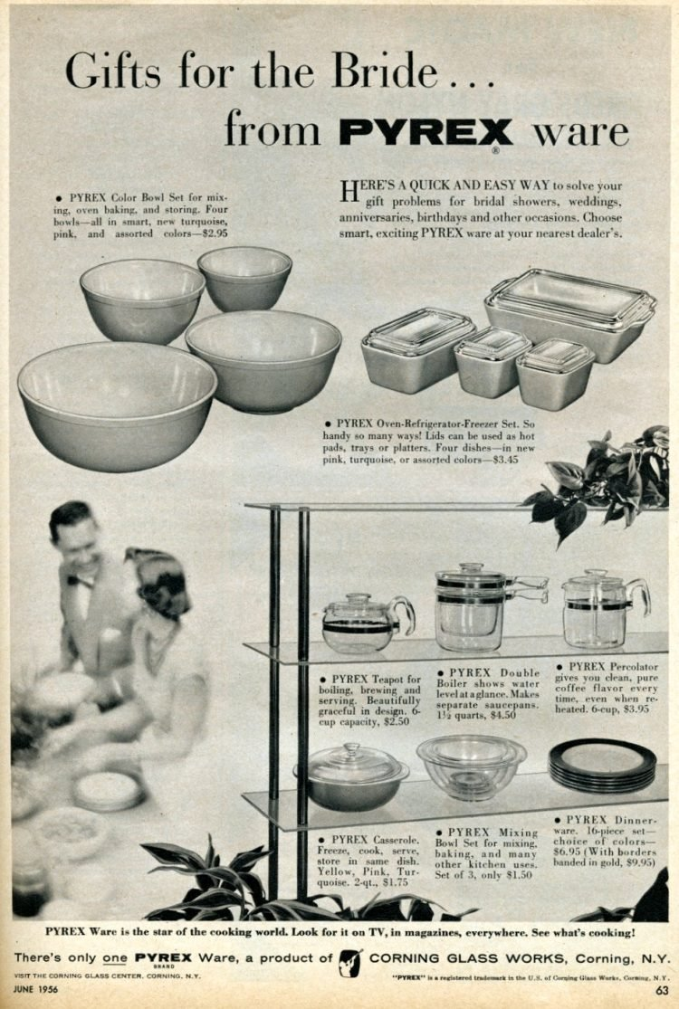 Pyrexware gifts for the bride from 1956