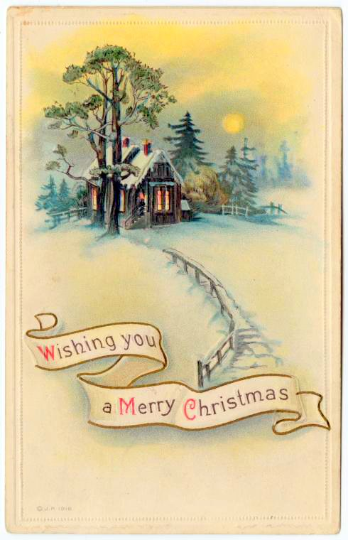 Quaint house in the snow on a vintage Christmas card from 1916 - Wishing you a merry Christmas