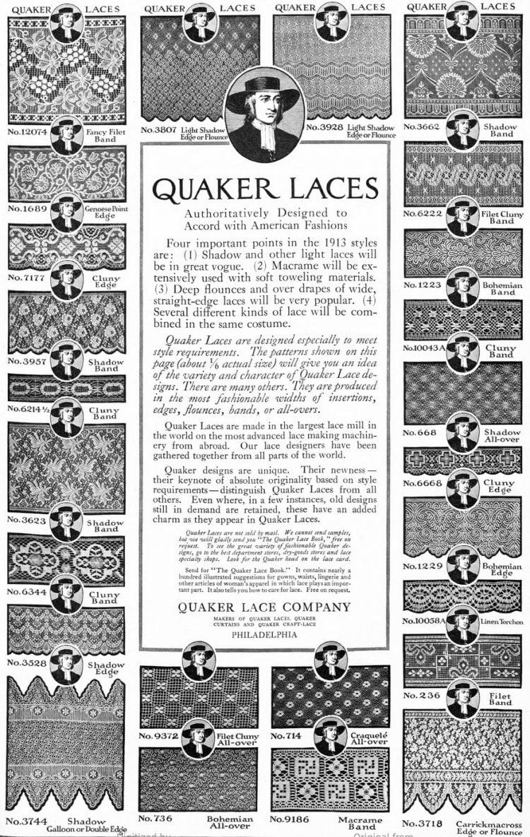 Quaker lace 1913