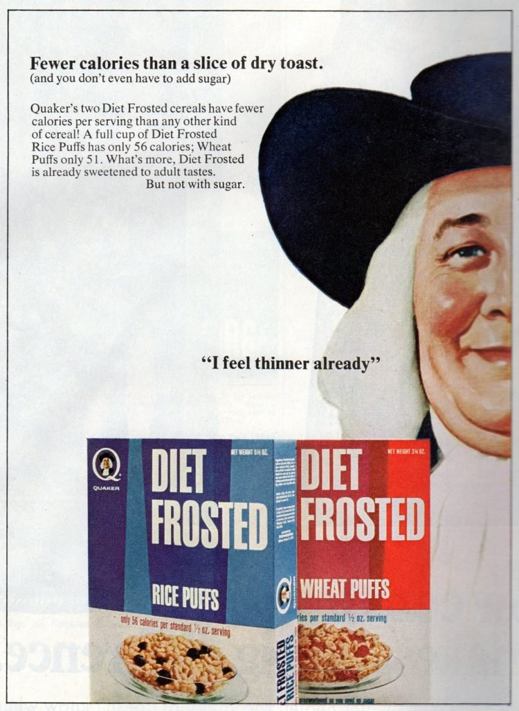 Quaker's two Diet Frosted cereals 1967