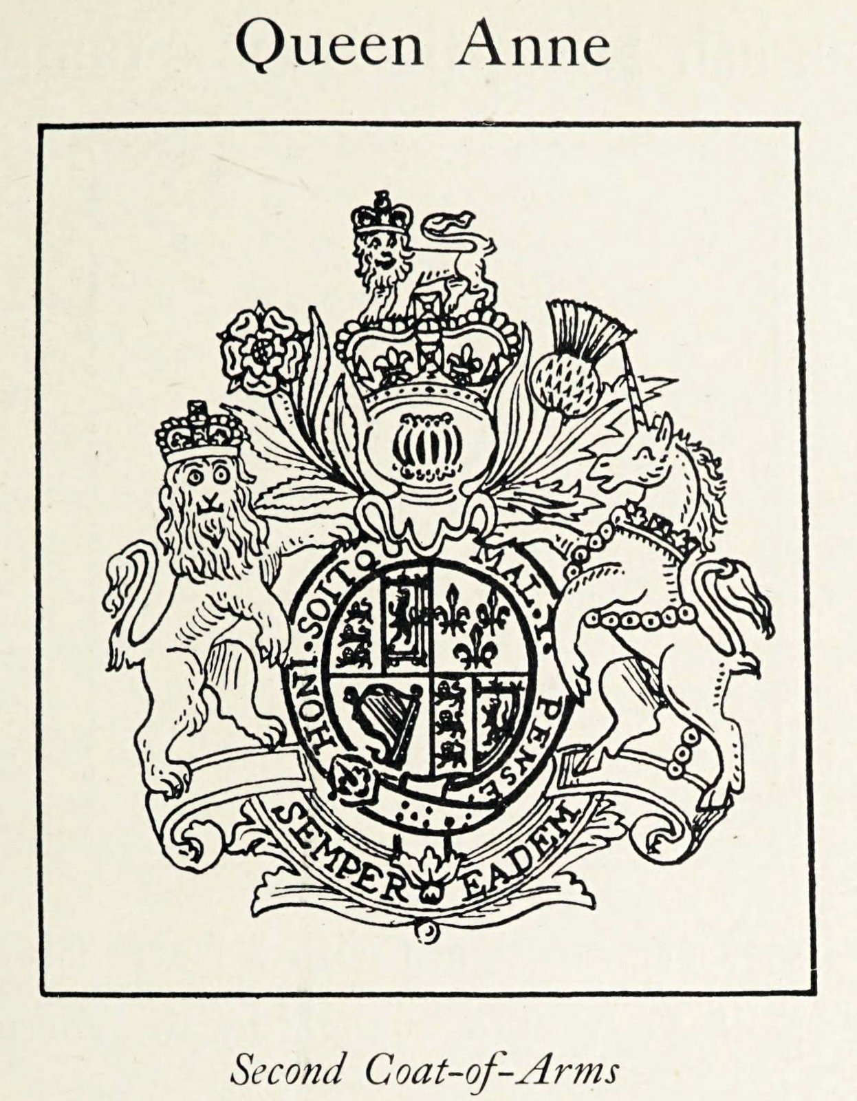 Queen Anne with unicorn on old coat of arms
