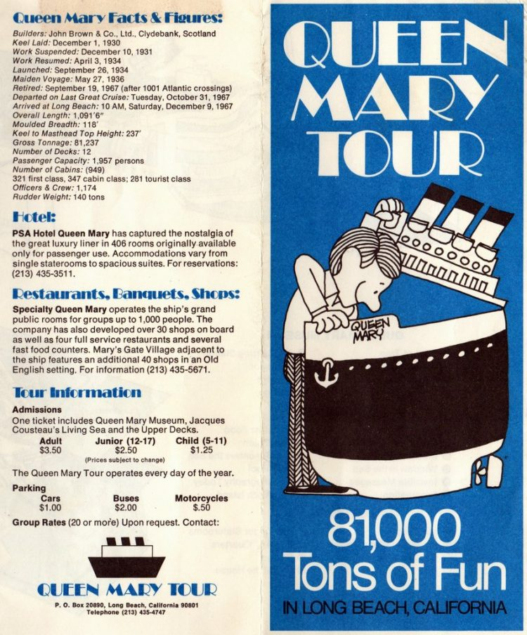 Queen Mary Tour 81,000 tons of fun in Long Beach - Vintage 1970s brochure (3)