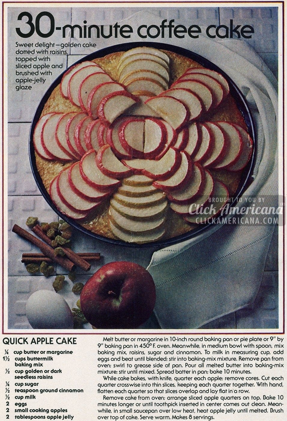 Quick Apple Coffee Cake recipe (1978)