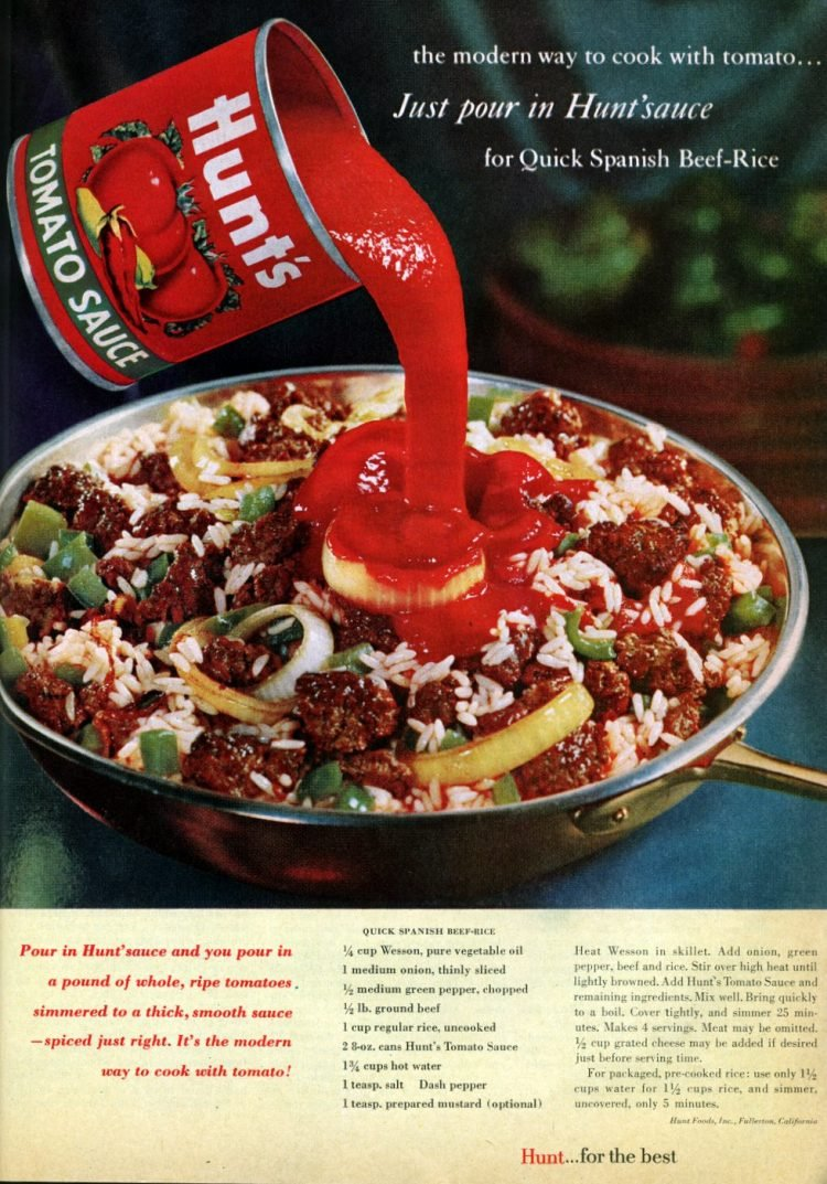 Quick Spanish tomato beef-rice vintage recipe (1961)