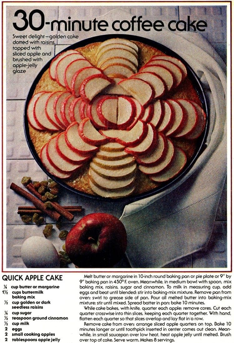 Quick apple coffee cake A classic recipe from the '70s