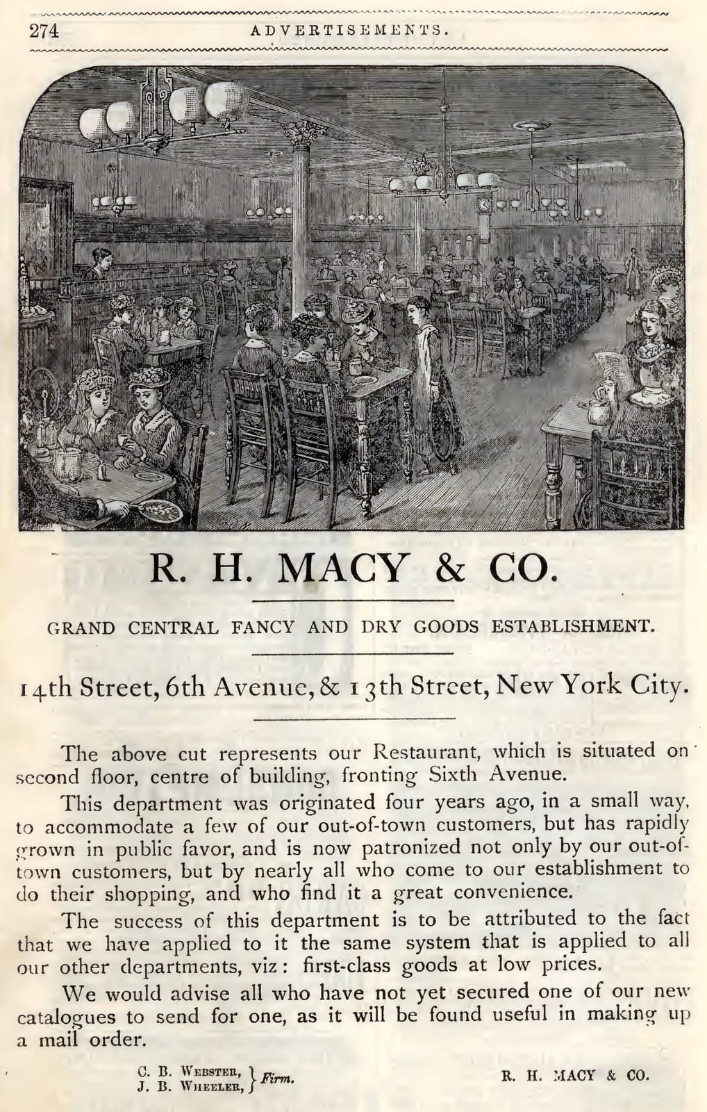 RH Macy vintage ad Peterson's Lady's National Magazine (March 1883)