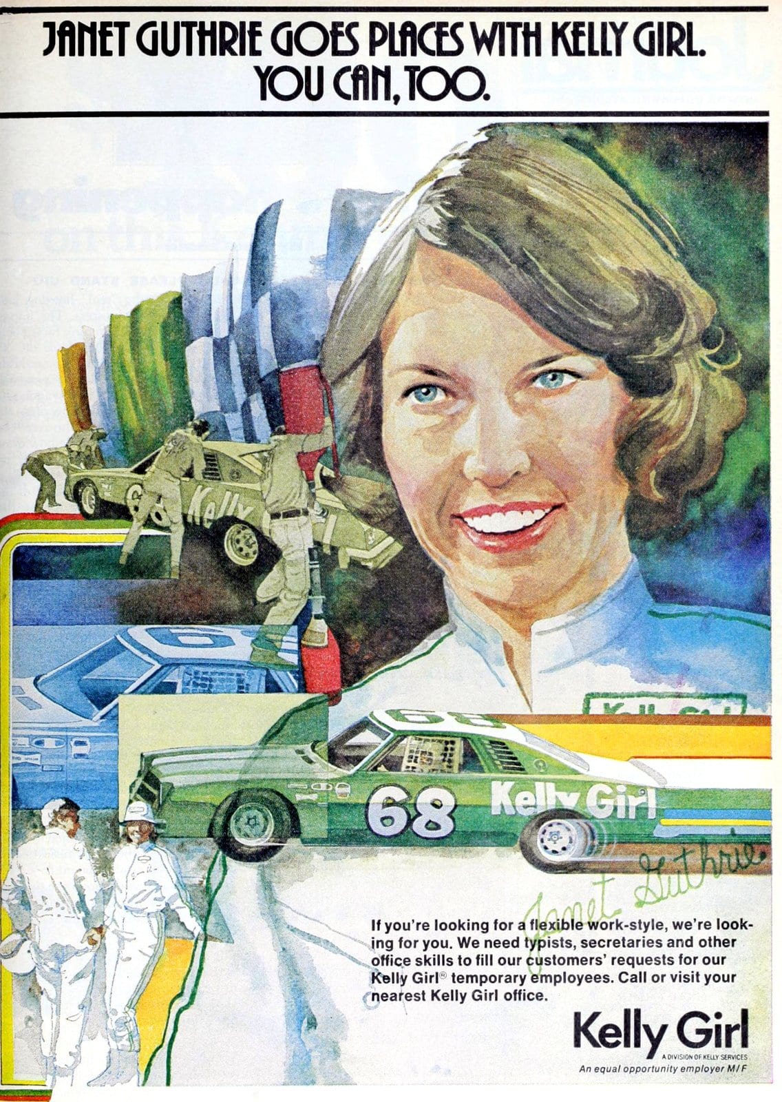 Racecar driver Janet Guthrie for Kelly Girl temps (1977)